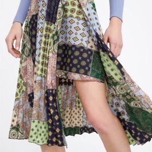 Zara Patchwork Print Pleated Skirt